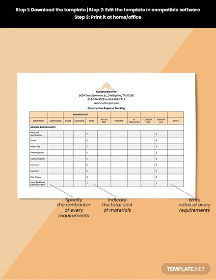 Construction Expense Tracking Template [Free Google Docs] - Google Sheets, Excel, Word, Apple Numbers, Apple Pages