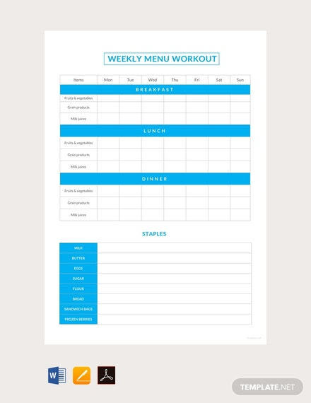 Free Sample Weekly Menu Workout Schedule Template