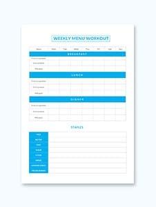 Sample Weekly Menu Workout Schedule Template