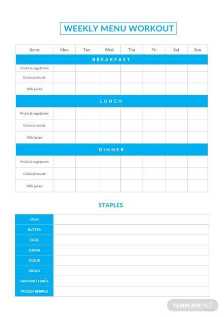 Sample Weekly Menu Workout Schedule Template