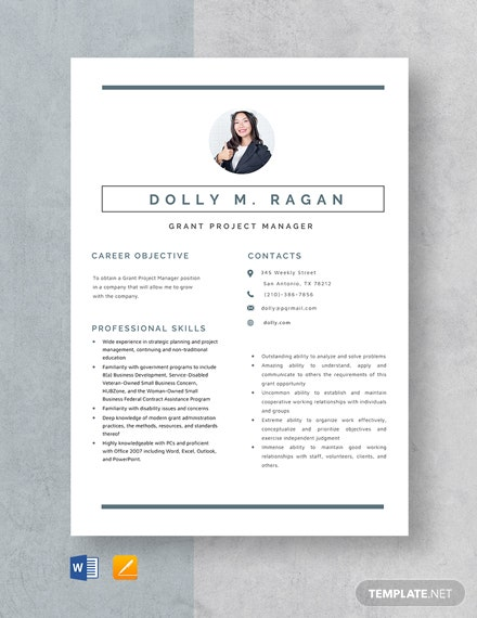 Grant Project Manager Resume Template