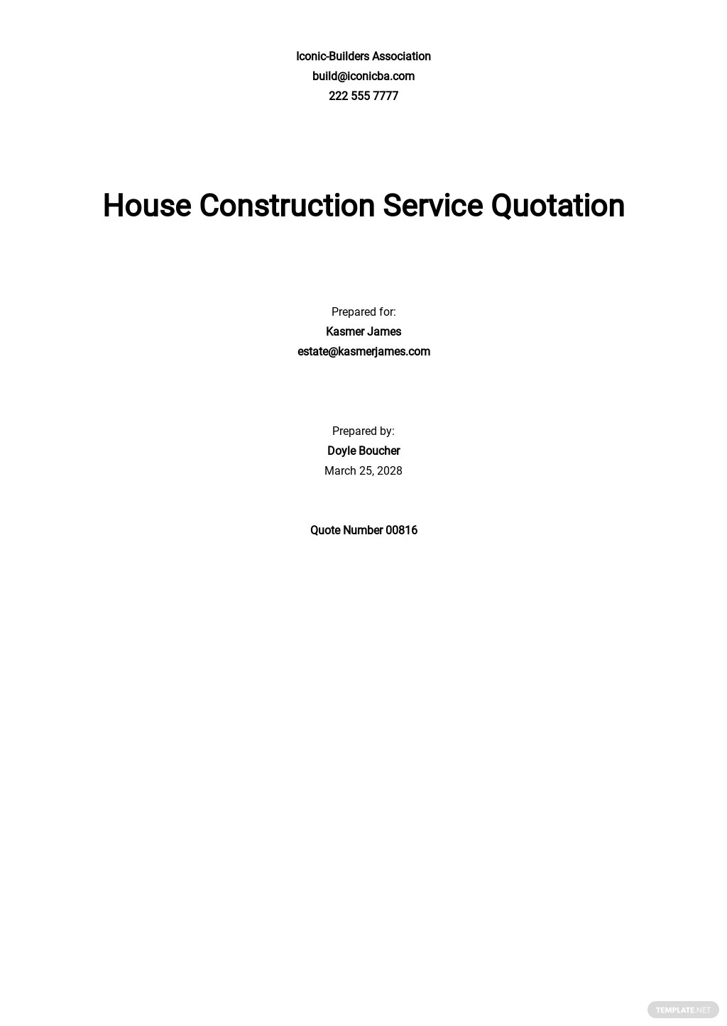 House Construction Quotation Template