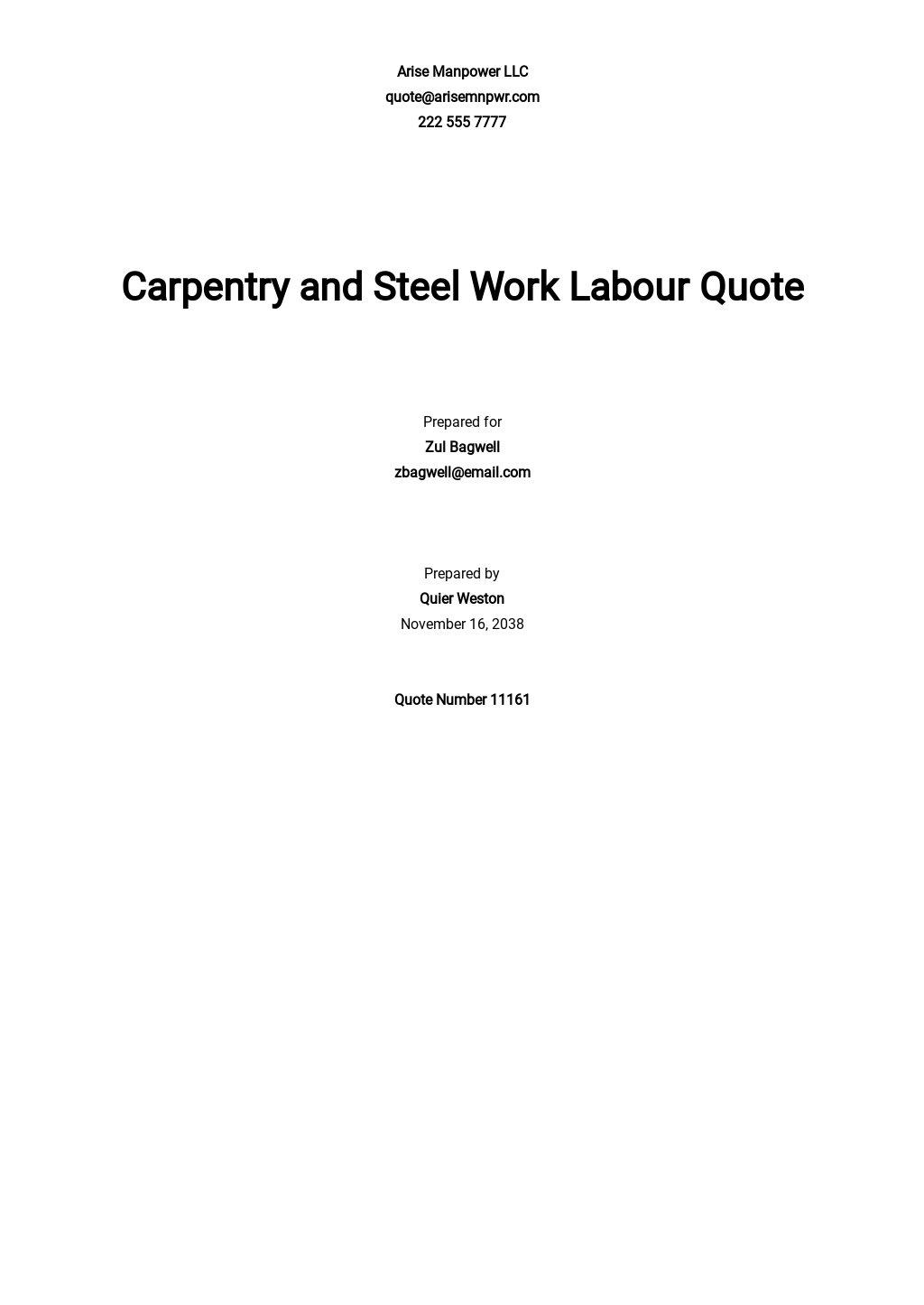 Labour Quotation for Building Construction Template