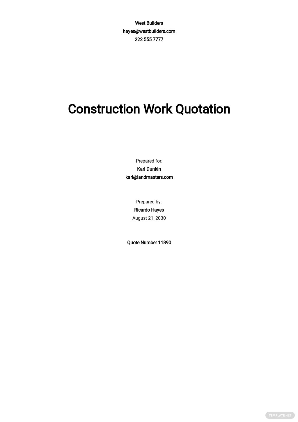 Construction Work Quotation Template