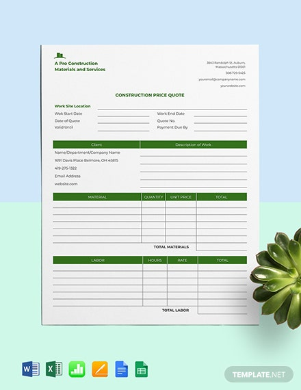 Construction Price Quote Template