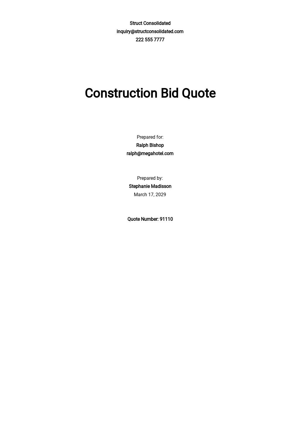 Construction Bid Quotation Template
