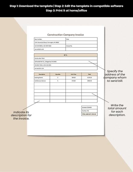 Construction Company Invoice Template