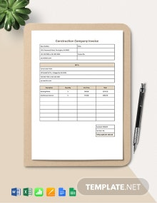 Construction Company Invoice Template