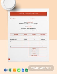 Construction Work Invoice Template