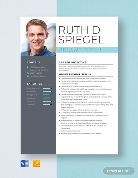 Medical Administrative Specialist Resume Template