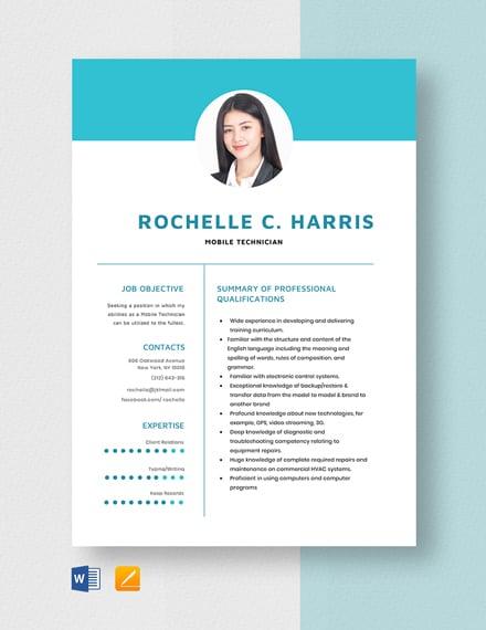 Mobile Technician Resume Template