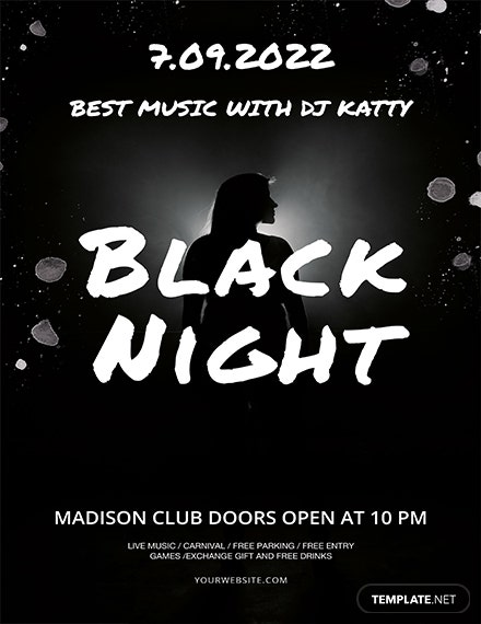 Free Black Night Flyer Template