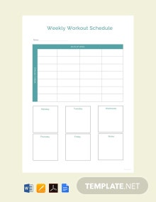 Free Sample Workout Schedule Template
