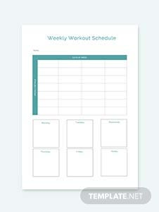 Sample Workout Schedule Template