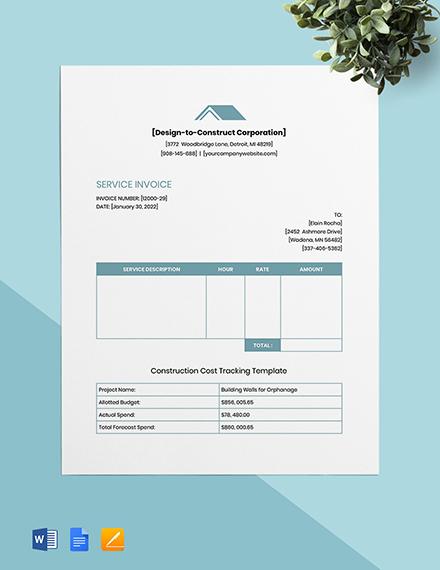 Contractor Job Invoice Template