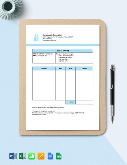 Equipment Rental Invoice Template