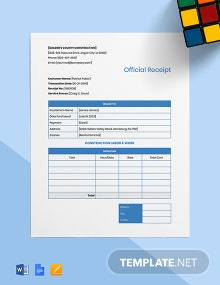 Construction Work Receipt Template