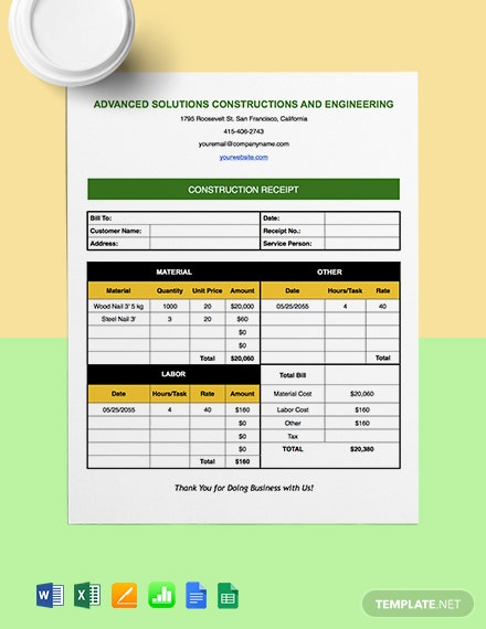 Construction Payment Receipt Template
