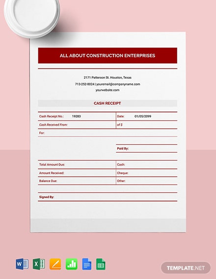 Construction Cash Receipt Template