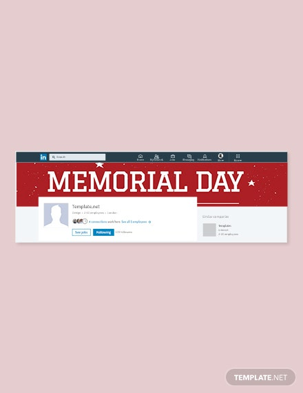 Free Memorial Day LinkedIn Company Cover Template