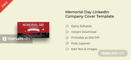 Memorial Day LinkedIn Company Cover Template