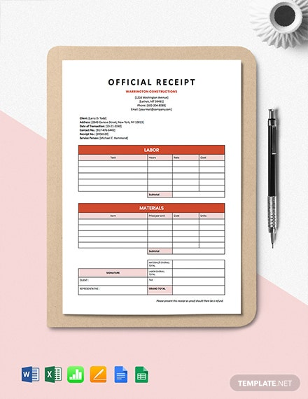 Building Construction Receipt Template