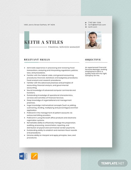 Financial Services Manager Resume Template