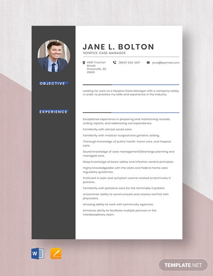 Hospice Case Manager Resume Template