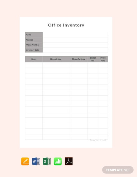 Free Office Inventory Template