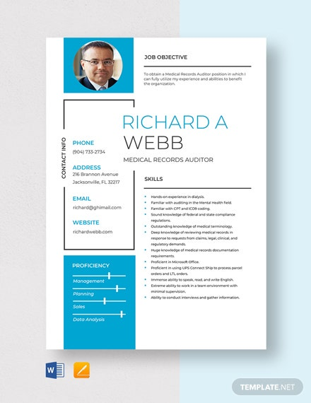 Medical Records Auditor Resume Template