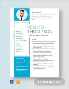 Mortgage Sales Manager Resume Template