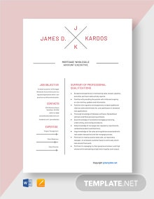Free Mortgage Wholesale Account Executive Resume Template