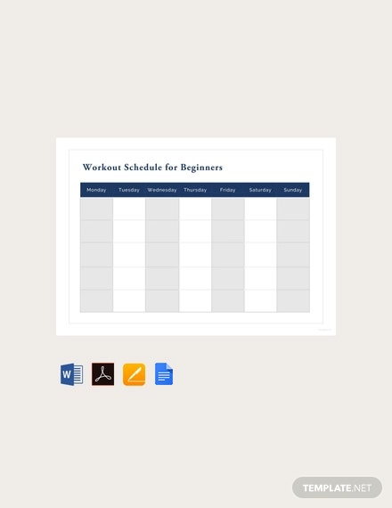 Free Workout Schedule for Beginners Template