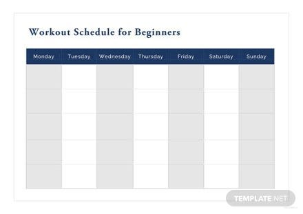Workout Schedule for Beginners Template