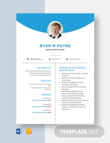 Medical Practitioner Resume Template