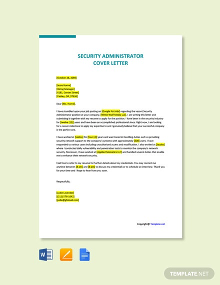 Free Security Administrator Cover Letter Template