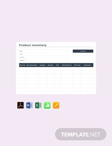 Free Product Inventory Template