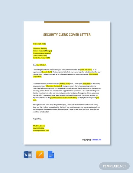 Free Security Clerk Cover Letter Template