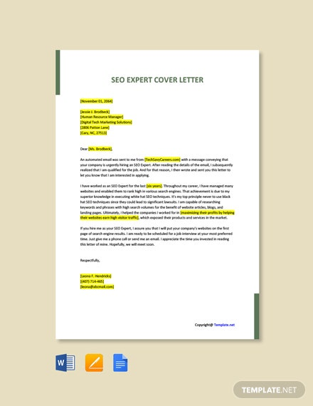 Free SEO Expert Cover Letter Template