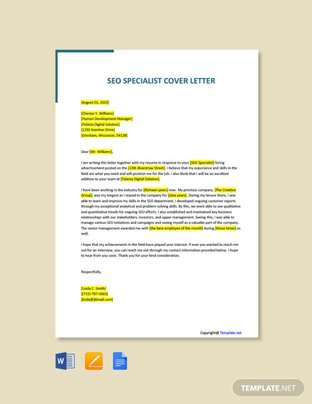 Free SEO Specialist Cover Letter Template