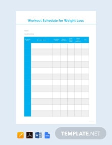 Free Workout Schedule for Weight Loss Template