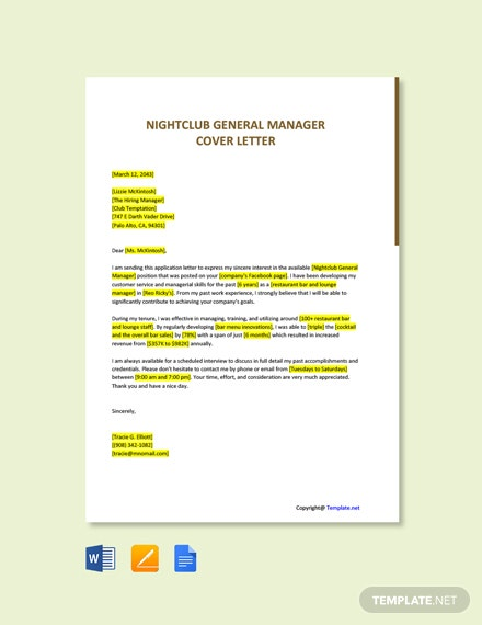 Free Nightclub General Manager Cover Letter Template