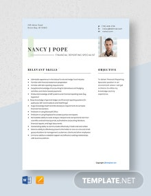 Free Financial Reporting Specialist Resume Template