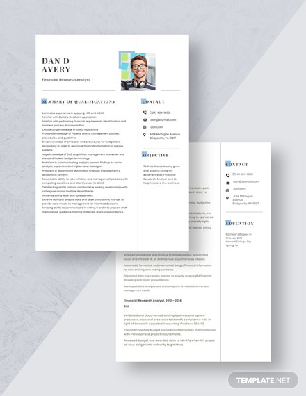 Financial Research Analyst Resume Download