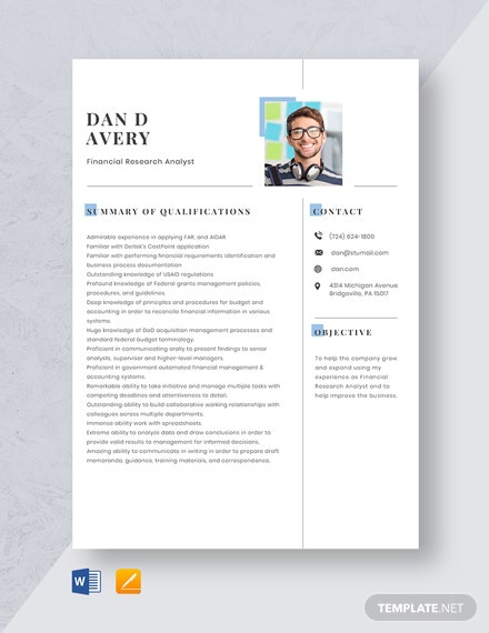 Financial Research Analyst Resume Template