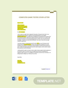 Free Computer Game Tester Cover Letter Template