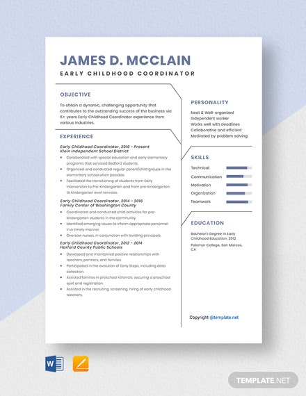 Free Early Childhood Coordinator Resume Template