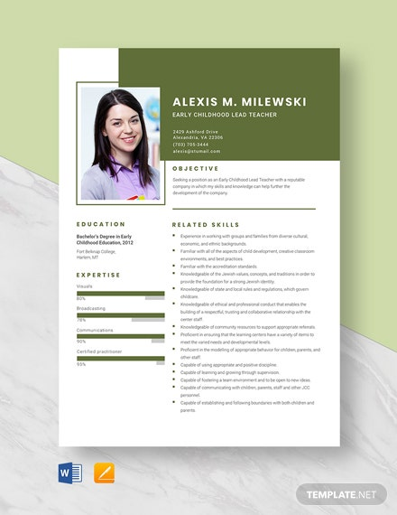 Early Childhood Lead Teacher Resume Template