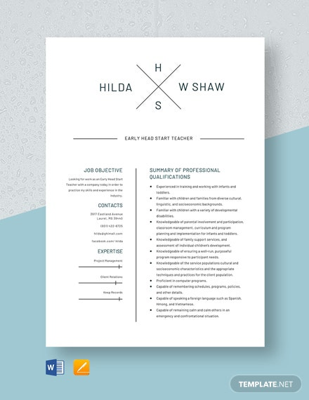 Early Head Start Teacher Resume Template