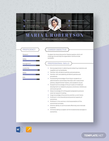 Home Economics Teacher Resume Template